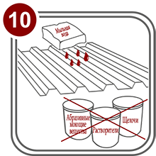 Не используйте моющие средства содержащие абразивные вещества, концентрированные щелочи, растворители