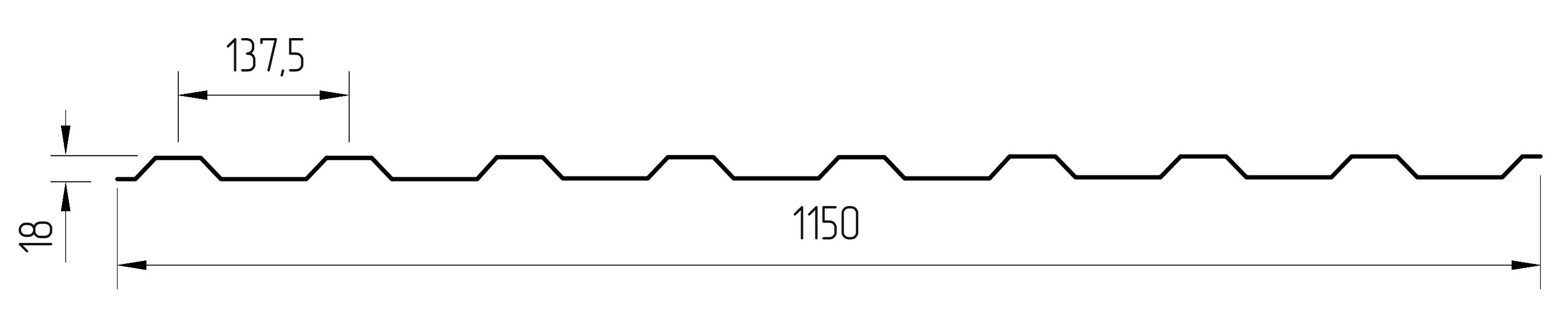 Форма монолитной трапеции профилированного поликарбоната МП-20 (У)