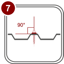 Установка болтов и винтов-саморезов должна быть произведена строго перпендикулярно к листу