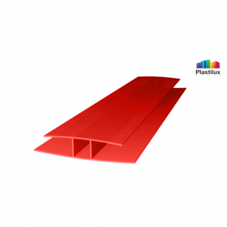 Поликарбонатный профиль ROYALPLAST HP соединительный красный 10мм 6000мм