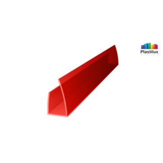 Профиль для поликарбоната ROYALPLAST UP торцевой красный 6мм 2100мм